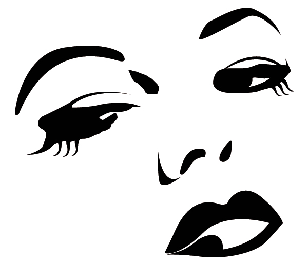 sticker déco - visage rita noire