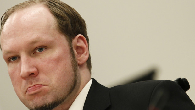 Anders Behring Breivik au dernier jour de son procès devant le tribunal d'Oslo, 22 juin 2012
