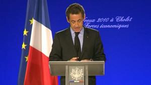 """Sarkozy s'exprime à Cholet le 6 janvier 2009 à l'occasion de ses voeux aux """"forces économiques"""""""