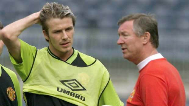 David Beckham et son entraneur Alex Ferguson, en 1999.