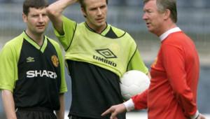 David Beckham et son entraîneur Alex Ferguson, en 1999.
