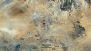 Carte du Mali avec Aguelhok, dans le massif de l'Adrar des Ifoghas