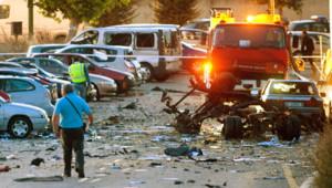 Les images du lieu de l'explosion d'une voiture piégée, le 29 juillet à Burgos, en Espagne