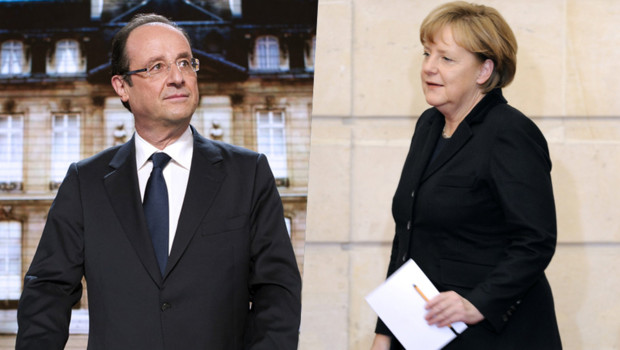 Photo-montage : François Hollande/Angela Merkel