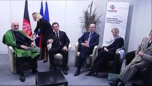Les dirigeants français et le président afghan le 20 novembre au sommet de l'Otan le 20 novembre 2010