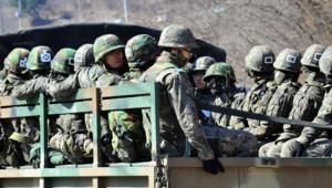 Des soldats sud-coréens près de la ville de Paju le 29 mars 2013