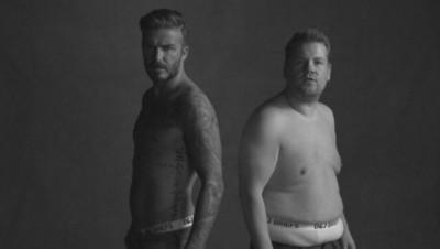 """David Beckham et James Corben dans une parodie de pub au """"Late late show""""."""