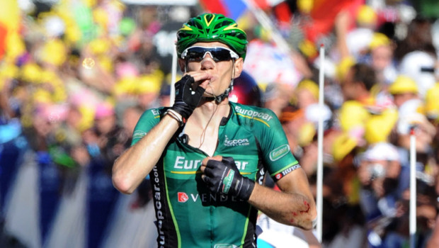 Le Français Pierre Rolland (Europcar) a remporté en solitaire la 11e étape du Tour de France, le 12 juillet 2012, dans la station de La Toussuire.