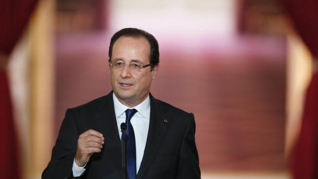 François Hollande lors de sa deuxième conférence de presse à l'Elysée, le 16 mai 2013.