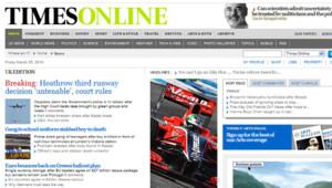 Capture écran du site du Times