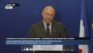 Michel Sapin, ministre du Travail, en conférence de presse