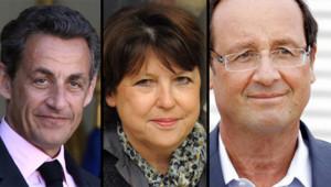 Nicolas Sarkozy, Martine Aubry, François Hollande (montage)