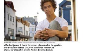 Ivar Benjamin, 16 ans, se trouvait sur l'île d'Utoeya lors de la fusillade le 22 juillet.