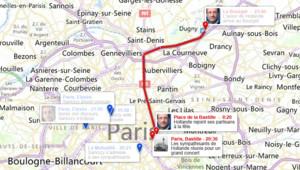 François Hollande est arrivé à la Bastille peu après minuit où l'attendait une foule nombreuse.