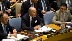 Laurent Fabius lors d'une réunion des ministres des Affaires étrangères des pays membres du Conseil de sécurité de l'ONU sur la Syrie (30 août 2012)