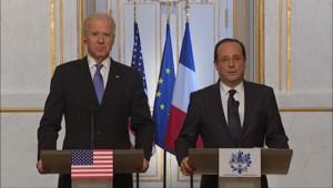 Mali, Iran... Le président François Hollande et le vice-président américain Joe Biden ont affiché lundi leur accord sur les grands dossiers internationaux du moment.