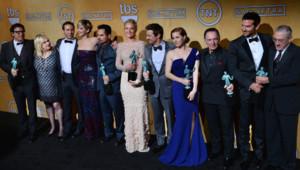 Les acteurs du film American Bluff lors des Screen Actors Guil Awards le 18 janvier 2014 à Los Angeles