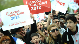 Au meeting de François Hollande, le 15 avril 2012, à Vincennes.