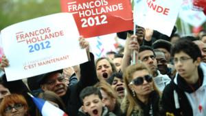 Au meeting de François Hollande, le 15 avril 2012, à Vincennes.
