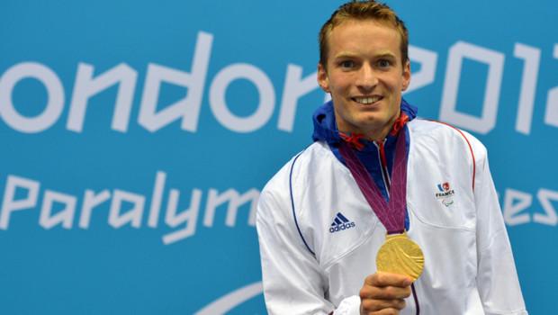 Le nageur Charles Rozoy, Charles Rozoy, premier médaillé français aux Jeux Paralympiques de Londres (29 août 2012)