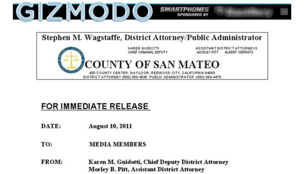 Capture du site Gizmodo et de la décision de la justice américaine sur l'affaire de l'iPhone 4 perdu