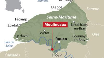 Carte de localisation de Moulineaux (Seine-Maritime)