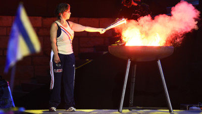 Cérémonie d'ouverture des European Maccabi Games, le 29 juillet 205, au Parc olympique de Berlin, 79 ans après les JO nazis de 1936.