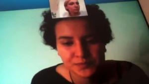 La Femen tunisienne Amina lors d'un échange via Skype diffusé sur YouTube le 15 avril 2013