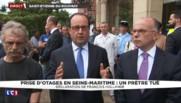 """Prêtre égorgé : """"J'ai une pensée pour tous les catholiques de France"""", affirme Hollande"""