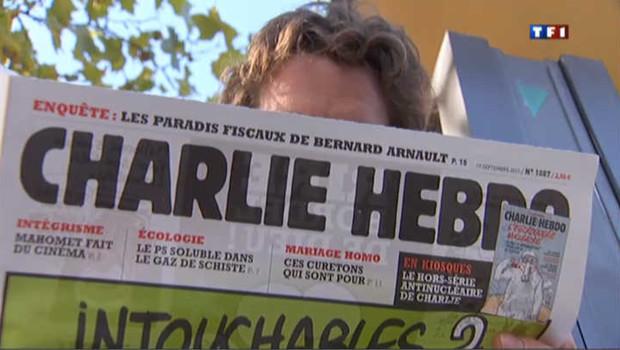 L'hebdomadaire Charlie Hebdo du 19 septembre 2012 comprenant des dessins satiriques représentant le prophète Mahomet