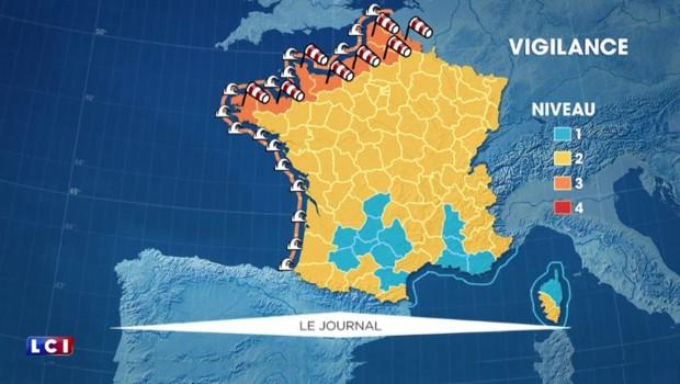 16 départements en alerte orange aux vents et aux vagues