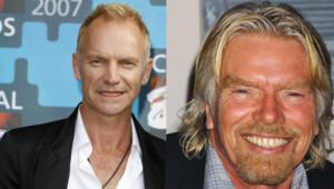 Le chanteur Sting (à gauche) et le milliardaire Richard Branson (à droite) - montage