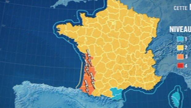 Alerte Météo France en raison de risques d'orages et de vent violent dans le sud-ouest de la France.
