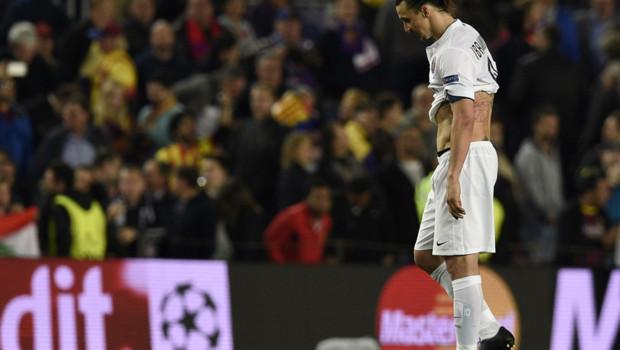 Zlatan Ibrahimovic déçu après Barcelone-PSG.