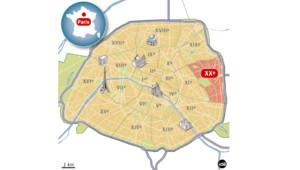 Carte du XXe arrondissement de Paris.