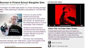 Le site de Sky News montrant la vidéo du tueur