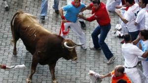 Lâcher de taureaux, Pampelune, le 10 juillet 2009