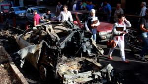Liban : dégâts devant le siège du Parti du courant arabe, pro-syrien, après des incidents à Beyrouth, 21/5/12