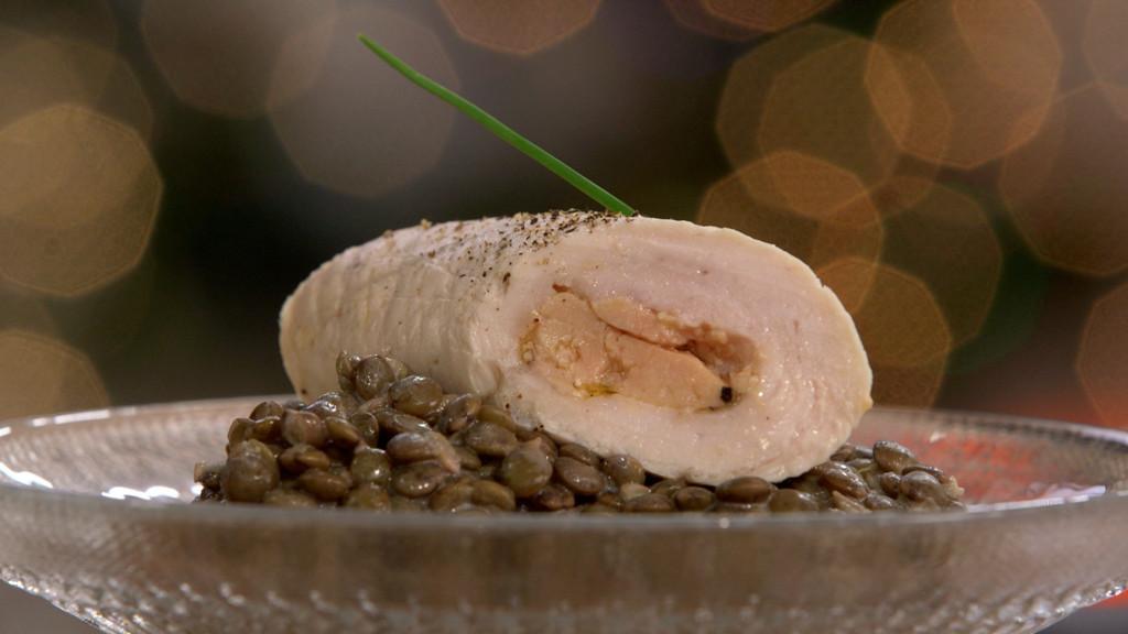 Filet de dinde roul au foie gras et lentilles cr m es - Toutes les recettes de petit plat en equilibre ...