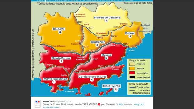Carte des risques d'incendie dans le Var le 21 août 2016