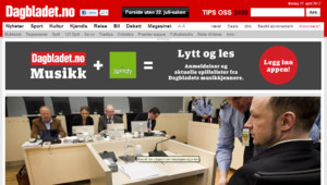 Capture d'écran de la page d'accueil du site de Dagbladet, le mardi 17/4/12, à 16h