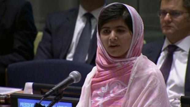 La jeune Pakistanaise Malala lors de son discours à l'ONU, le 12 juillet 2013.