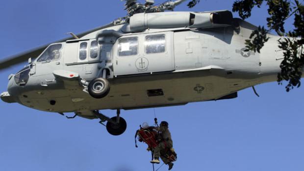 Un hélicoptère américain lors d'une opération d'évacuation