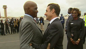 Nicolas Sarkozy et le président sénégalais Abdoulaye Wade