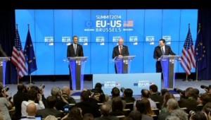 Barack Obama, Herman von Romuy et José Manuel Barroso, le 26/3/14, à Bruxelles