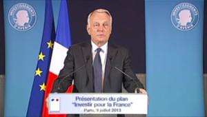 """Jean-Marc Ayrault lors de la présentation du plan """"Investir pour la France"""", le 9 juillet 2013."""