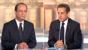 François Hollande et Nicolas Sarkozy lors du débat de l'entre-deux-tours le 2 mai 2012