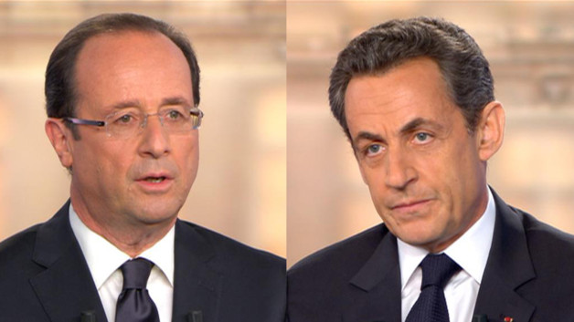 Franois Hollande et Nicolas Sarkozy le 2 mai 2012. 