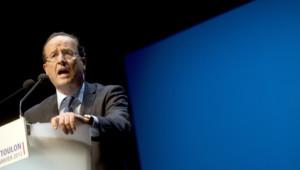 François Hollande lors d'un meeting à Toulon, le 24 janvier 2012.