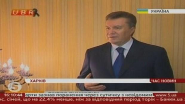 Viktor Ianoukovitch, le président ukrainien, lors d'une allocution à la télévision le 22 février 2014. Il nie toute volonté de démissionner.